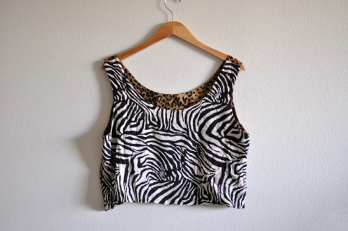 SOLD Vintage Animal Print Crop Top I like wearing the zebra in front and the cheetah print on the back, shown HERE.