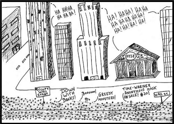 Occupy Wall Street as Bankers LOL editorial political business cartoon and top ten banker jokes by laughzilla for thedailydose.com