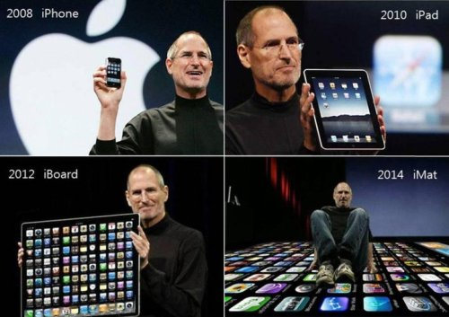 THE GREAT BIG APPLE In 2008: The 1st iPhone was released. In 2010: The 1st iPad was introduced to the world. In 2012: Woahh! An iBoard will be released. In 2014: THIS IS RIDICULOUS! An iMat!? What!? Image source: http://www.facebook.com/pages/iPhone-4/100855459959850