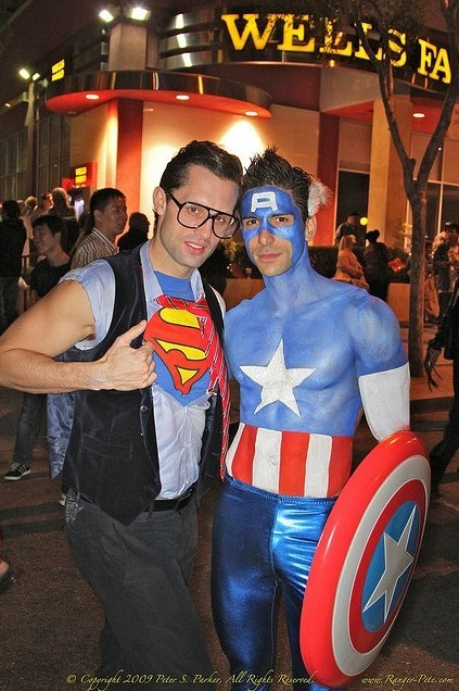 costumehunks:  Costumed Hunks Superman and Captain America!