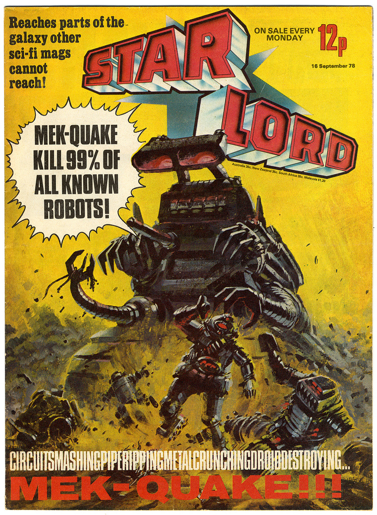 Here is one of those great painted covers for Starlord. Here comes Mek-Quake. BIG JOBS! BIG JOBS!