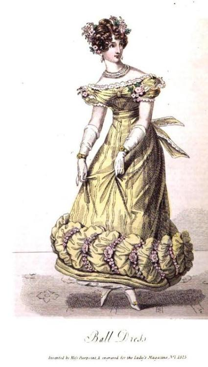 Lady's Magazine, Ball Dress, July 1825.  That is QUITE a hem!