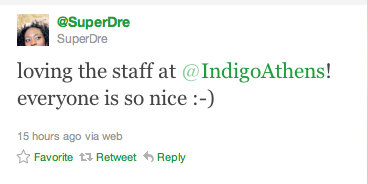 We love seeing tweets like this about us! It makes our whole day! Be sure to follow us on Twitter at www.twitter.com/indigoathens