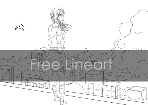 Free lineart #3 : The city above the clouds. Download here.