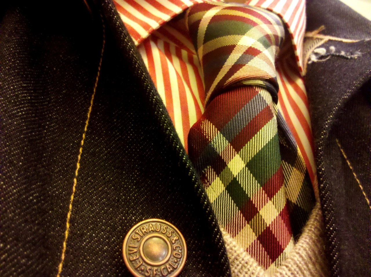todaystie:  Shipley & Halmos shirt- Paul Smith tie- Vince sweater - Levi's jacket