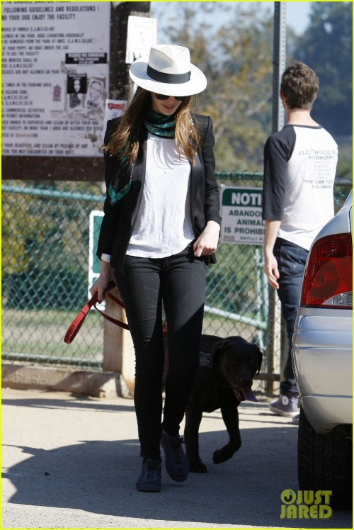 Anne Hathaway and her pup Esmerelda looking stylish in Hollywood.