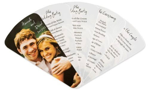 lacedinweddings:  Fan Style Wedding Program These fans are great for outdoor weddings on a hot summer day.  Love them? You can buy them here on Etsy.