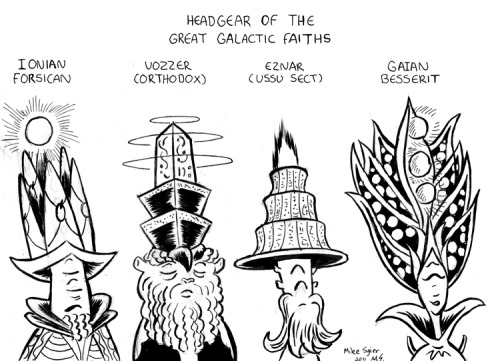 Headgear of the Great Galactic Faiths from the galaxy of Supernova Lullaby (not to say these are the only four Great Galactic Faiths, but these are the ones with the most…noticeable headgear.)