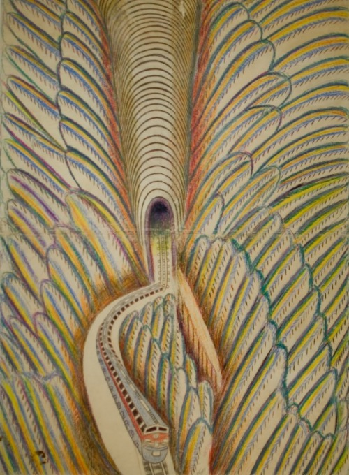 "letmypeopleshow:  Grand Illusions:  Untitled (Feathered Train), ca. 1952-53, by Martín Ramírez. The Mexican American artist, diagnozed as as a catatonic schizophrenic, spent much of his life confined in California mental institutions, where he produced hundreds of mesmerizing, undulating, mind-blowing drawings and collages in which, as Roberta Smith memorabily put it, ""he played spatial illusion as if it were an accordion."" If you see one show in New York this month, make it this rare survey of his incredible landscapes at Ricco Maresca in Chelsea.  Copyright  the Estate of Martin Ramirez. Image courtesy of Ricco/Maresca Gallery,  NYC."