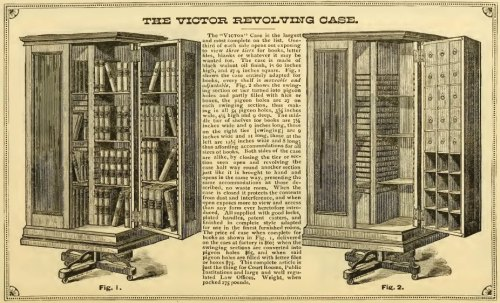 ~ Illustrated and Descriptive Circular of Danner's Revolving Book Cases, John Danner, 1880via Internet Archive(click to enlarge)