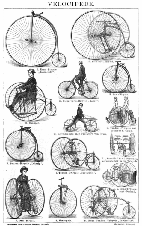 "josephalopod:  Drawing of various antique bicycles, or ""velocipedes"" as they were then called, from an 1887 German encyclopedia.  ""They see rollin' ; they hatin'"""