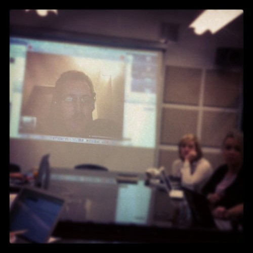 "Ben Hammersley visited CommunITP class last night via Skype from his Paris hotel room and shared his current thinking on the importance of geopolitical online presence translation for all.  Some highlights:  * Re: security theater ""Gatekeepers are the most defensive."" * Is the philosophical definition of the good life now too complicated to understand, predict, or reverse-engineer?  * Coined the Hammersley Index: Internet weirdness will double every twelve months.  Thanks, Ben!"