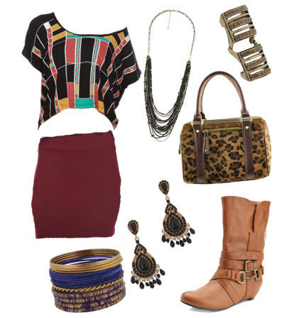 Tribal, Fun, everyday look. Click links below to get the look!  Top Skirt Boots Bag Necklace Bracelets Earrings Ring