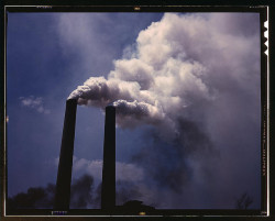 "Smoke stacks (LOC) by The Library of Congress on Flickr.Via Flickr: Palmer, Alfred T."" photographer. Smoke stacks 1942 1 transparency : color.Notes: Title from FSA or OWI agency caption. Transfer from U.S. Office of War Information, 1944.Subjects: World War, 1939-1945 Smokestacks Industrial facilitiesFormat:  Transparencies—ColorRights Info:  No known restrictions on publication.Repository:  Library of Congress, Prints and Photographs Division, Washington, D.C. 20540 USA, hdl.loc.gov/loc.pnp/pp.printPart Of:  Farm Security Administration - Office of War Information Collection 12002-28 (DLC)   93845501 General information about the FSA/OWI Color Photographs is available at hdl.loc.gov/loc.pnp/pp.fsacPersistent URL:   hdl.loc.gov/loc.pnp/fsac.1a35070Call Number:  LC-USW36-374"