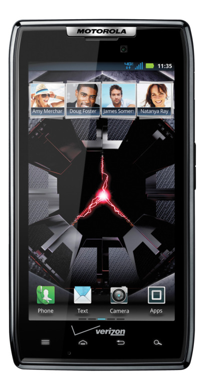 Verizon Wireless And Motorola Announce DROID RAZR By Motorola: DROID Strong. RAZR Sharp.Today, Motorola and Verizon Wireless announced DROID RAZR, the world's thinnest 4G LTE smartphone. A true marvel of design, this smartphone packs strength and smarts into a stylish package offered exclusively from Verizon Wireless.Measuring 7.1 mm thin, made with KEVLAR fiber for strength and Corning Gorilla Glass for scratch resistance, the DROID RAZR is ready to face the elements. Speed limits are just an illusion with a dual-core 1.2 GHz processor and Verizon Wireless 4G LTE. DROID RAZR customers can expect to rip through the Web with speeds up to 10 times faster than 3G.Additional features: Powered by Android™ 2.3.5, Gingerbread 1GB RAM for a fast user interface and multi-tasking 8-megapixel rear camera with 1080p HD video capture and image stabilization technology for crisp and clear videos 4G LTE Mobile Hotspot capable so customers can share 4G LTE speed with up to eight Wi-Fi enabled devices Water repellent nanocoating protects the phone, and even the inside components, against everyday spills Remote wipe, pin lock and government-grade encryption for email, calendar and contacts as well as voice and video chat conferencing Use Quickoffice® to view, create and edit Microsoft® Word, Excel and PowerPoint documents on your mobile device from anywhere at anytime
