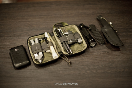 "submitted by crankafreak   My EDC: Fallkniven F1 Custom Kydex Gerber Covert F.A.S.T 3 Gerber Multi-Plier 600 + bits0 Ultrafire WF-501B BIC Lighter Pendrive BIC pens   Editor's Note: I always like to see how people decide to set up their pocket organizers. Yours actually looks less ""stuffed"" compared to other setups I've seen, however. In accordance with the rest of your carry, I think adding a weatherproof notebook in one of the larger pockets, some paracord, a capsule lighter, and some small first aid essentials would help round out your carry as it seems you have sort of a survivalist theme going. Otherwise your carry looks good and very cohesive! If your Ultrafire ever bites the dust or doesn't work out for you, I think a Zebralight or similar right angle/headlamp light might synergize well with your carry too. Thanks for sharing!"