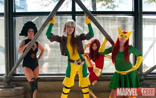 Lilandra, Rogue, Phoenix and Jean Grey cosplayers at New York Comic Con 2011. Photo by Judy Stephens