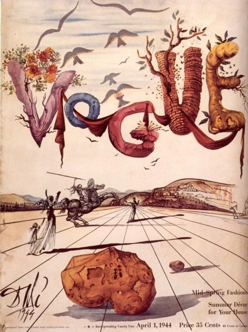 aolist:  vogue cover by salvador dali, april 1944