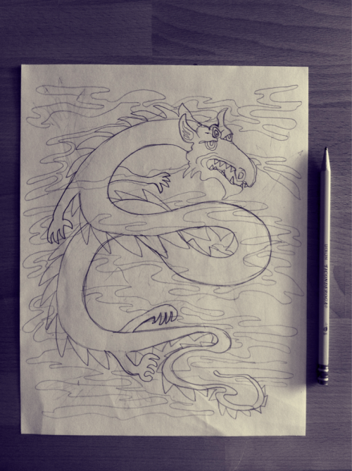 Drawing a psychedelic dragon for an upcoming group show. Pencil sketch is done.