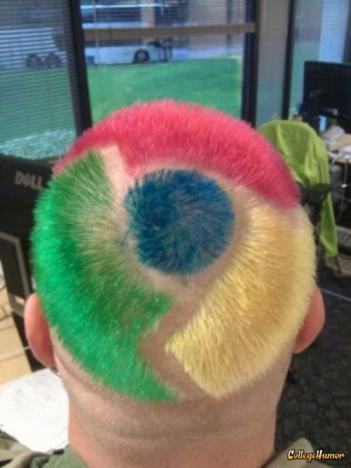 collegehumor:  Google Chrome Haircut He doesn't look nearly as fast as the browser.  Does his Flash constantly crash? Will he get a Firefox cut in a few months?