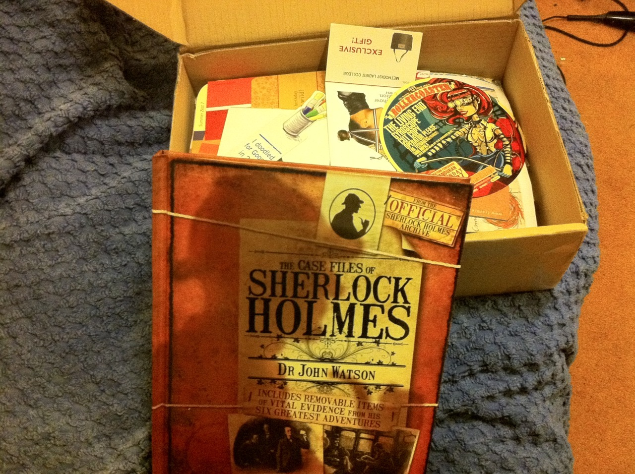 My mum is the best mum because she finds Sherlock Holmes books in shitty supermarkets and buys them for me and puts them in a box with a bunch of cool shit for my visual diary and SENDS THE BOX to me ALL THE WAY FROM PERTH TO LONDON and even writes a nice little letter inside and that is why my mum is the best.