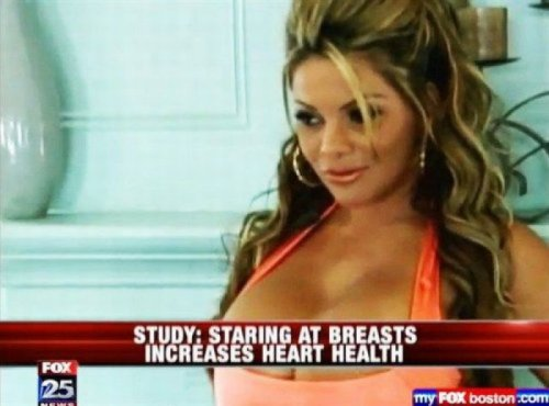Study: Staring At Breasts Increases Heart Health Just try not to get a heart on.