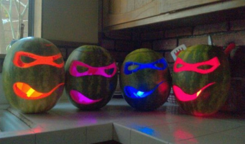 Teenage Mutant Ninja Turtle Watermelon Lanterns I'd recommend pineapple for Shredder and mounds of rotting fruit for Splinter.