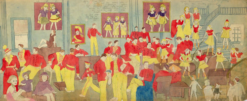 After Marcocino by Henry Darger, after 1934 watercolor, carbon tracing, and pencil on joined papers