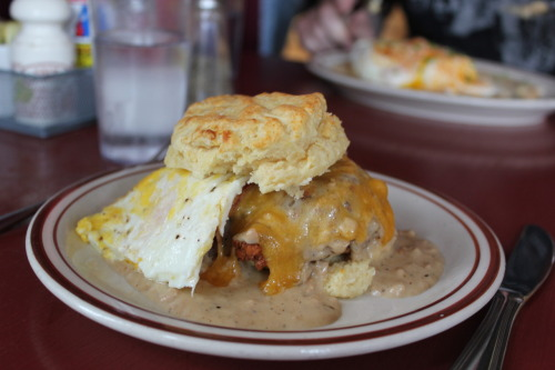 theendoftimetravel:  The Reggie at Pine State Biscuit Company in Portland OR.  That's a biscuit with Chicken, bacon, cheese, gravy and a egg.  IT'S AWESOME!