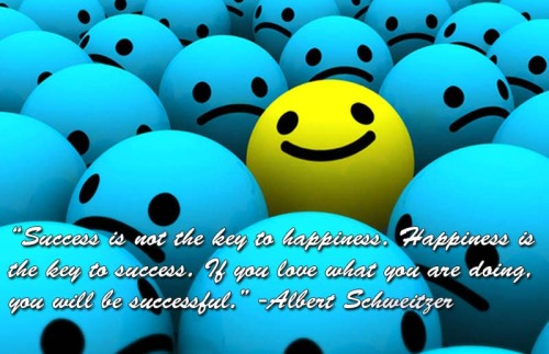 """Success is not the key to happiness. Happiness is the key to success. If you love what you are doing, you will be successful."" -Albert Schweitzer"