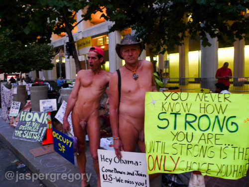 Two naked men protesting at Occupy San Francisco. It would not be San Francisco without naked guys.