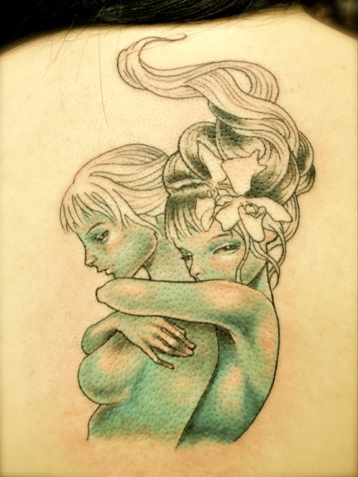 "fuckyeahtattoos:  One of Audrey Kawasaki's art. She's absolutely amazing. This piece is called ""Letting Go"" Done by: Jason Ante, New York City"