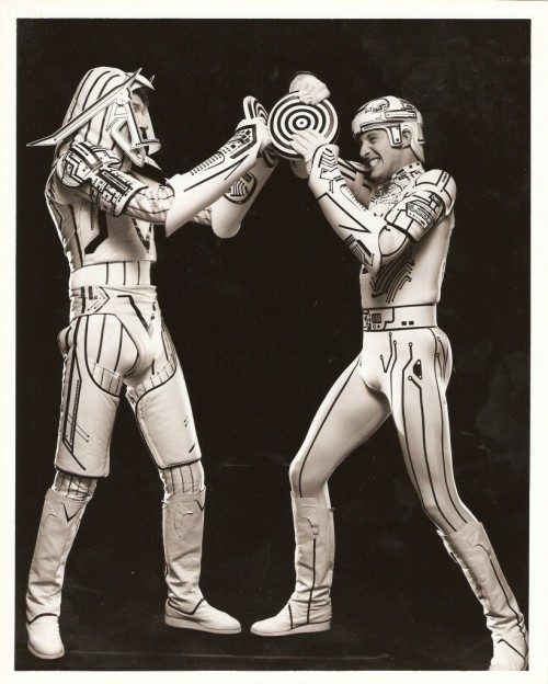 tron (1982)david warner and bruce boxleitner fooling around in costume.