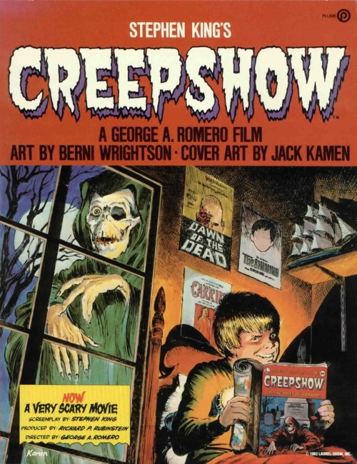 Creepshow 1982. Directed by George A. Romero. Great anthology of horrors penned by the king of horror stories, Stephen King (no pun intended). This movie consisted of five pretty diverse and quite scary horror stories. The movies has a somehow gorefest macabre touch, but it also has enough elemental scare, so it's kind a standing between the dark elemental horror and the gory classic horror. A cult classic that is pretty awesome. I'm pretty sure that you will found one segment that you will really like among the five segments.