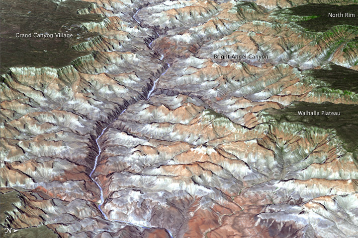 The image above shows the eastern part of Grand Canyon National Park in northern Arizona, near 36 degrees north latitude and 112.1 degrees west longitude. It is a composite of two pieces: a synthetic natural color image captured on July 14, 2011, draped over a three-dimensional model of the area. The images and stereoscopic data behind the model were acquired by the Advanced Thermal Emission and Reflection Radiometer (ASTER) on NASA's Terra spacecraft. The perspective is from east to west, looking down the channel of the Colorado River. North is to the right. In this view, the canyon spans 9 miles (14.5 kilometers) at its widest point and 5,600 feet (1,707 meters) from rim to river bed. The North Rim and Walhalla Plateau stand out on the right side, while Grand Canyon Village rests on the high plateau at upper left. (vía NASA Earth Observatory)