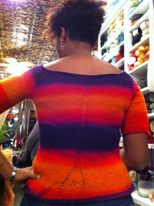 Yee! I might finish my Power Gradient sweater in time for Stitches East!!
