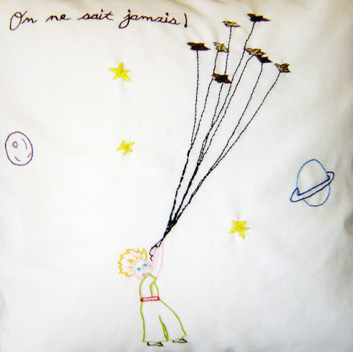 On ne sait jamais. Embroidery based on Antoine de Saint-Exupéry's Le Petit Prince.