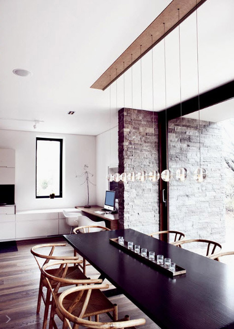 myidealhome:  long table + raw exposed bricks (via desiretoinspire)   There are bentwoods AND awesome lighting fixtures AND exposed brick AND hardwood floors.