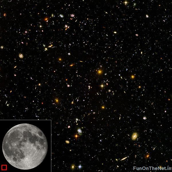 """This is a Hubble Ultra Deep Field image of a small region of the observable universe (equivalent sky area size shown in bottom left corner). Each spot is a galaxy, consisting of billions of stars. There are more than 170 billion galaxies in the observable universe.""  Seeing scale pictures like this continually blows my mind. Click the photo to see more depicting scale in the universe."