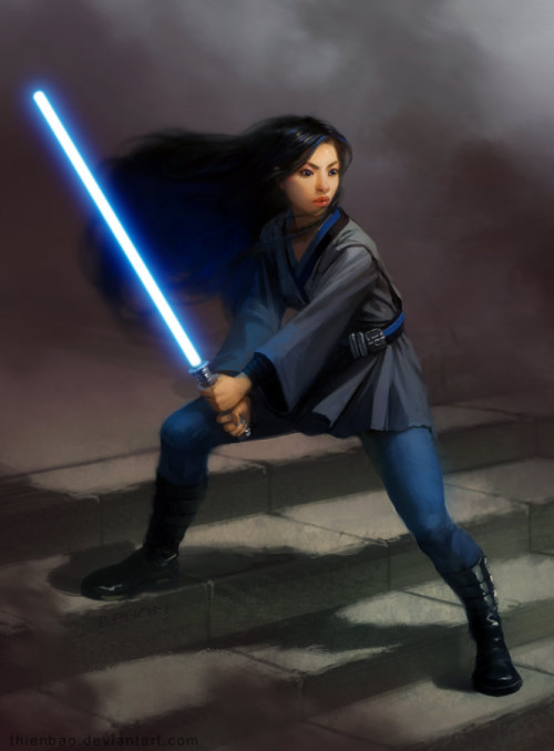 [ Image: A colour painting of a young jedi woman seemingly of asian appearance, bracing herself on a broad flight of stairs with her blue lightsaber ignited. She wears a thigh-length dark grey tunic trimmed with black over what appears to be a blue unitard, bound at the waist by a blue and black striped belt carrying a couple of utility items. Black thigh-high boots that have multiple buckles up their sides match the waist-length black hair streaming behind her on the same breeze that moves the smoke surrounding her. ]