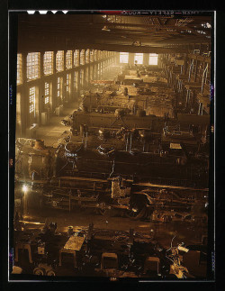 "Chicago and Northwestern railroad locomotive shops, Chicago, Ill. (LOC) by The Library of Congress on Flickr.Via Flickr: Delano, Jack"" photographer. Chicago and Northwestern railroad locomotive shops, Chicago, Ill. 1942 Dec.  1 transparency : color.Notes: Identified as the 40th Street shops by the source: Flickr Commons project, 2008. Removed notes about Proviso Yards and Melrose Park. Title from FSA or OWI agency caption. Transfer from U.S. Office of War Information, 1944.Subjects: Chicago and North Western Railway Company  World War, 1939-1945 Interiors Railroad shops & yards United States—Illinois—ChicagoFormat:  Transparencies—ColorRights Info:  No known restrictions on publication.Repository:  Library of Congress, Prints and Photographs Division, Washington, D.C. 20540 USA, hdl.loc.gov/loc.pnp/pp.printPart Of:  Farm Security Administration - Office of War Information Collection 12002-1 (DLC)   93845501 General information about the FSA/OWI Color Photographs is available at hdl.loc.gov/loc.pnp/pp.fsacPersistent URL:   hdl.loc.gov/loc.pnp/fsac.1a34676Call Number:  LC-USW36-582"