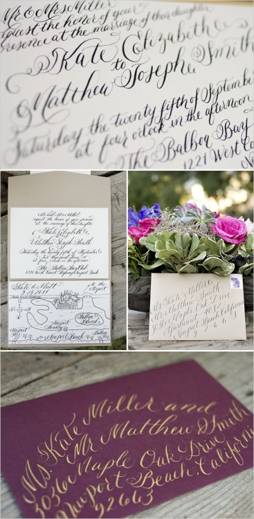 gorgeous calligraphy… i also love the plum/aubergine and gold color palette on their envelope.
