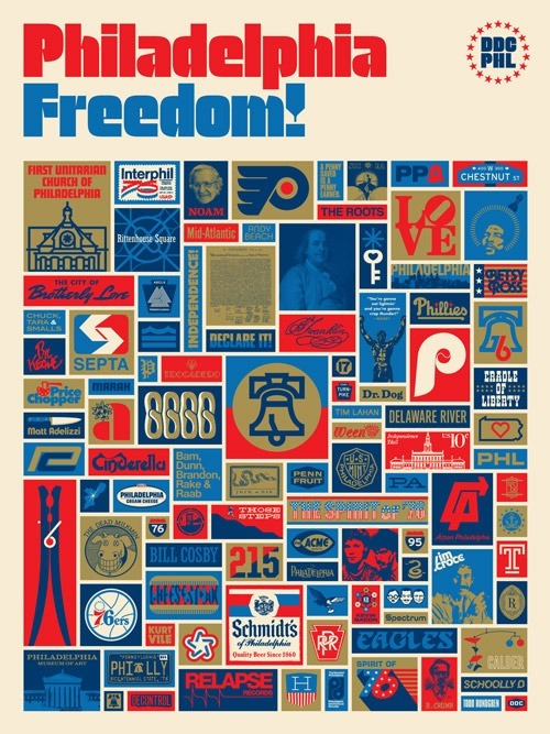Want this now please. laughingsquid:  Philadelphia Freedom Art Print by Aaron Draplin