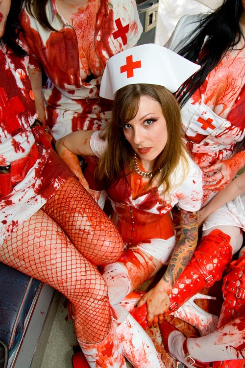 Art of Bleeding nurses  Publicity shoot for Halloween Highway 2 show in Los Angeles. Photos: PHIL GLAU.
