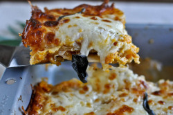 liligolightly:  Roasted Butternut and Sweet Potato Whole Wheat Lasagna So, so, so many of my happy trigger words in that title. Featuring the two fall flavors that so often get overshadowed by their big brother Pumpkin, and deserve this delicious tribute.