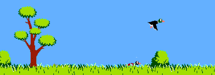gregbabula:  Duck Hunt JS  Remember the Duck Hunt game on the Nintendo in the 1980s? It's back, on the Web, all thanks to JavaScript and HTML5. All it's missing is the NES Zapper gun attachment but it's still reasonably tricky even with the mouse.   YES. I love the replaced sound effects. They're hilarious. Very creative application of html5 and javascript. That damn dog, is still a damn dog.