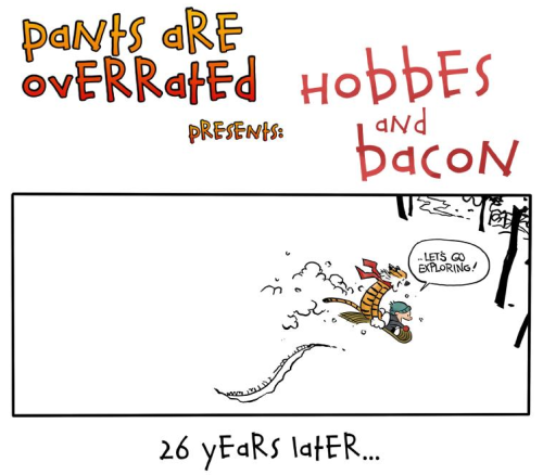 "we-walk-without-fear:  buzzkillingtonthethird:  ""Hobbes and Bacon"" Source: Pants Are Overrated   My heart. I don't know what my emotions are doing to me."