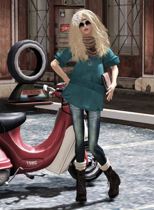 #18 Skin: LAQ ~ Jennie2 - [Fair] - 05 by Mallory Cowen Hair: >TRUTH< Luana - mirage by Truth Hawks Hair Flower: [kik]feather head dress II (part of [kik] hair-Tilda) by as001 Littlething Shades: (epoque) Boho Shades - Neutral by Vintage McMillan Tunic: *Fishy Strawberry* Tunic -Teal by Fae Eriksen (NEW!) Pants: {mon tissu} Denim - 1929 Cigarette ~ Ink by Elie Spot Clutch: (epoque.s) Illusion Clutch - Afrique by Vintage McMillan (The Seasons Hunt) Scarf: Shakeup - Tye-Dye Scarf [Brown] (NEW!) :P Necklace: MIEL SHA NECKLACE by Mika Nieuport (FLF) Boots: *Kookie* Armarda/ Dark Choc by Kookie Lemon Pose: *EverGlow* - Model541 by Fanny Willis (NEW!) Location: The Nest