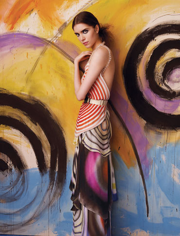 somethingvain:  Fendi Silk Tulle Circle-Print Skirt S/S 2008, Tanya by Andrew Eccles for NY Magazine Spring 2008