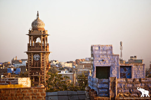 An early evening shot of the main clocktower in Jodhpur, India (via The Wedding Travelers)